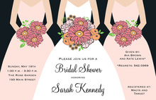 Modern Petal Pink Bouquet Girls Bridal Shower Invites