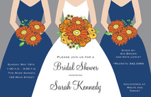 Modern Navy Bouquet Girls Bridal Shower Invitations
