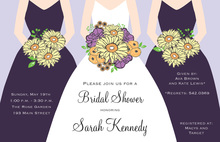 Modern Plum Bouquet Girls Bridal Shower Invitations