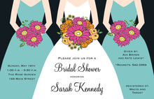 Modern Aqua Bouquet Girls Bridal Shower Invitations