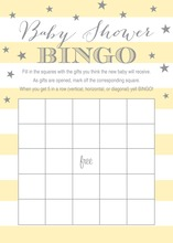 Yellow Stripes Grey Stars Baby Bingo Game Cards