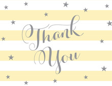 Yellow Stripes Grey Stars Thank You Cards