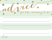 Gold Glitter Mint Stripes Advice Cards