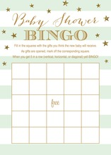 Mint Stripes Gold Glitter Baby Bingo Game Cards