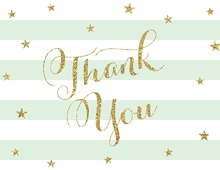Mint Stripes Gold Glitter Thank You Cards