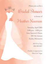 Coral Watercolor Wash Bridal Shower Invitations