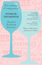 Fancy Wine Chatter Pink Invitations