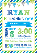 Blue Green Striped Border Banner Birthday Invitations