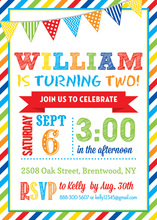 Colorful Stripes Border Banner Birthday Invitations