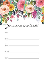 Watercolor Floral Bouquet Black Script Fill-in Invites