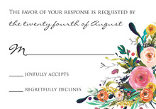 Watercolor Floral Bouquet Black Script RSVP Cards