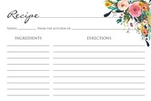 Watercolor Floral Bouquet Black Script Recipe Cards