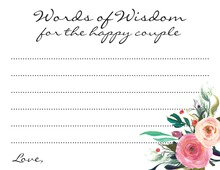 Watercolor Floral Bouquet Script Couple Advice Cards