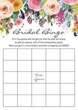 Watercolor Floral Bouquet Black Script Bridal Bingo