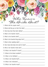 Watercolor Bouquet Black Who Knows Bride Best Game