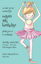 Pretty Ballerina Girl Aqua Invitations