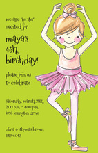 Pretty Ballerina Girl Lime Green Invites