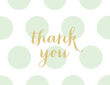 Mint Polka Dots Gold Glitter Graphic Thank You Note