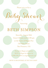 Mint Polka Dots Gold Glitter Graphic Invites