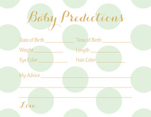 Mint Polka Dots Baby Prediction Cards