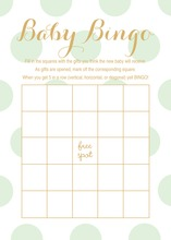 Mint Polka Dots Baby Bingo Game Cards