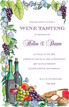 Wine Tasting Floral Grape Invitations