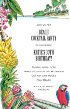 Palm Tree Tropics Parrot Bird Invitations