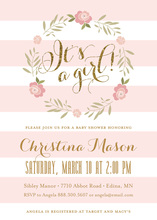 Rose Wreath Pink Stripes Baby Shower Invitations