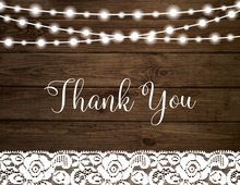 Hanging Lights Wood Plank Thank You Cards