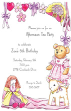 Pink Crib Kids Animal Invitations