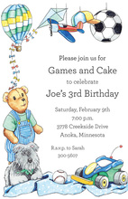 Blue Crib Toys Kids Animal Invitations
