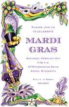 Mardi Gras Purple Mask Invitations