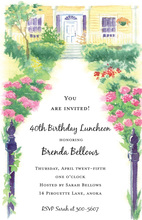 Front Walk Garden Porch Scene Invitations