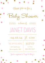 Gold Glitter Graphic Pink Dots Baby Shower Invitations