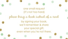 Gold Glitter Graphic Mint Dots Bring A Book Card