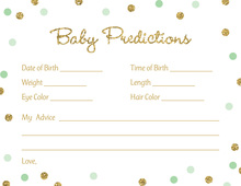 Gold Glitter Graphic Mint Dots Baby Predictions