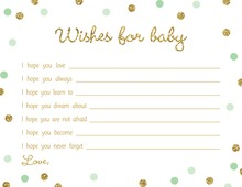 Gold Glitter Graphic Mint Dots Baby Wishes