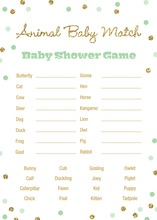 Gold Glitter Graphic Mint Dots Baby Animal Name Game