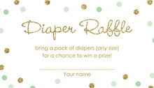 Gold Glitter Graphic Mint Dots Diaper Raffle Cards