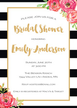 Black Stripes Watercolor Floral Bridal Shower Invites