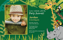 Jungle Animals Forest Green Birthday Invitations