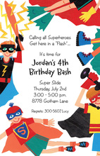 Everywhere Superheroe Kids Invitations