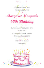 Pink Cake Confetti Celebration Birthday Invites