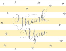 Yellow Stripes Silver Glitter Stars Thank You Cards