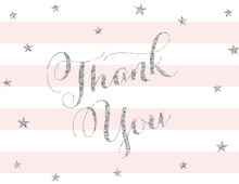 Pink Stripes Silver Glitter Thank You Cards
