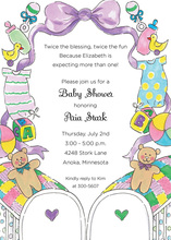 Twin Cribs Baby Invitations