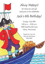 Pirate Captain Kid Birthday Invitations