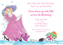 Dress Up Make Up Girl Birthday Invitations