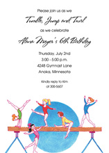 Gymnasts Balance Beam Invitations