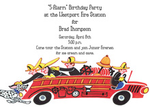 Fire Engine Firemen Party Invitations